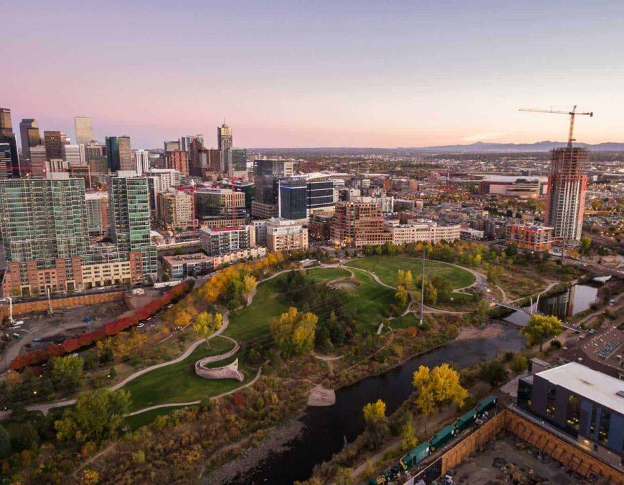 aerial view of Riverfront Park in Denver Bergan & Company Property Management Denver, Centennial, Colorado